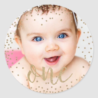 Gold Glitter Confetti First Birthday Stickers
