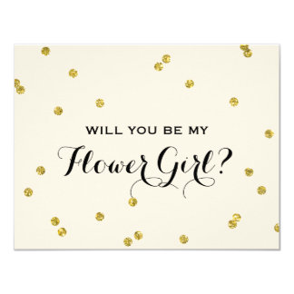 Gold Glitter Confetti | Flower Girl 11 Cm X 14 Cm Invitation Card