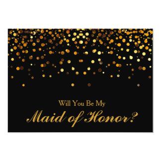 Gold Glitter Confetti Maid of Honor 13 Cm X 18 Cm Invitation Card