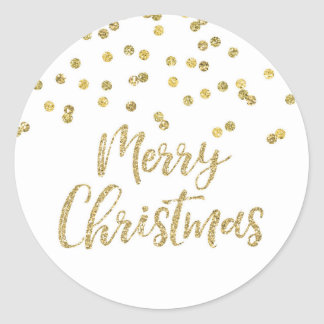 Gold Glitter Confetti Merry Christmas Round Sticker