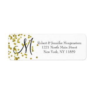 Gold Glitter Confetti Monogram Address Return Address Label