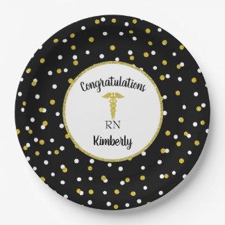 Gold glitter confetti nurse graduation party decor paper plate