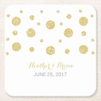 Gold Glitter Confetti Paper Coasters Square Paper Coaster