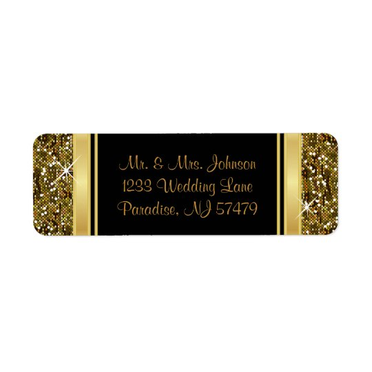 Gold Glitter Confetti Print Return Address Label