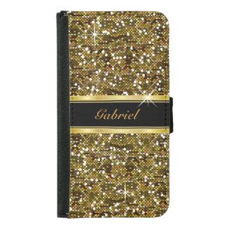 Gold Glitter Confetti Print Samsung Galaxy S5 Wallet Case