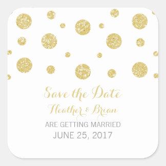 Gold Glitter Confetti Save the Date Stickers