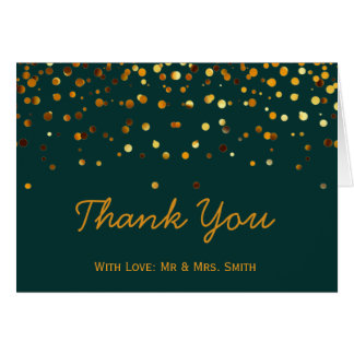 Gold Glitter Confetti Sparkles Green Thank You Card