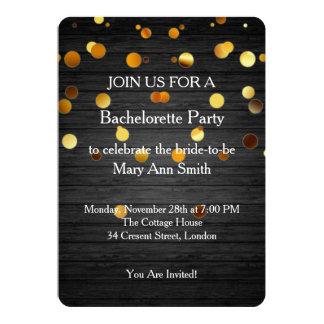 Gold Glitter Confetti Sparkles Wooden Bachelorette Card