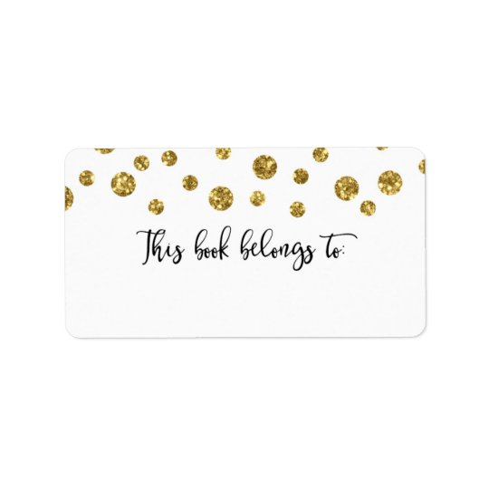 Gold Glitter Confetti This Book Belongs To Address Label
