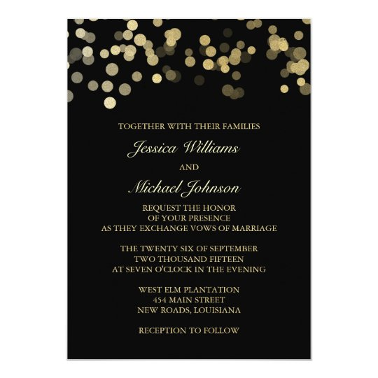 Gold Glitter Confetti Wedding Card