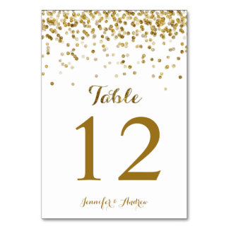 Gold Glitter Confetti Wedding Table Number Cards Table Cards
