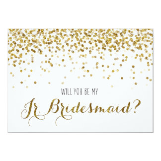 Gold Glitter Confetti Will you be my Jr Bridesmaid 13 Cm X 18 Cm Invitation Card