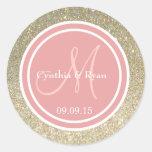 Gold Glitter & Coral Pink Wedding Monogram Round Stickers