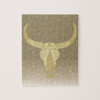 Gold Glitter Cow Skull Jigsaw Puzzle