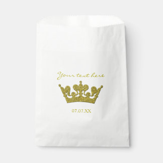 Gold Glitter Crown Birthday Party Favor Bags