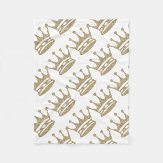 Gold Glitter Crown Fleece Blanket