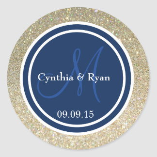 Gold Glitter & Dark Navy Blue Wedding Monogram Classic Round Sticker