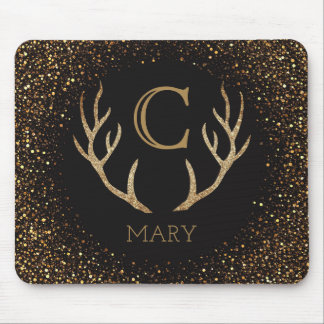 Gold Glitter Deer Antlers Monogram Black Mouse Pad