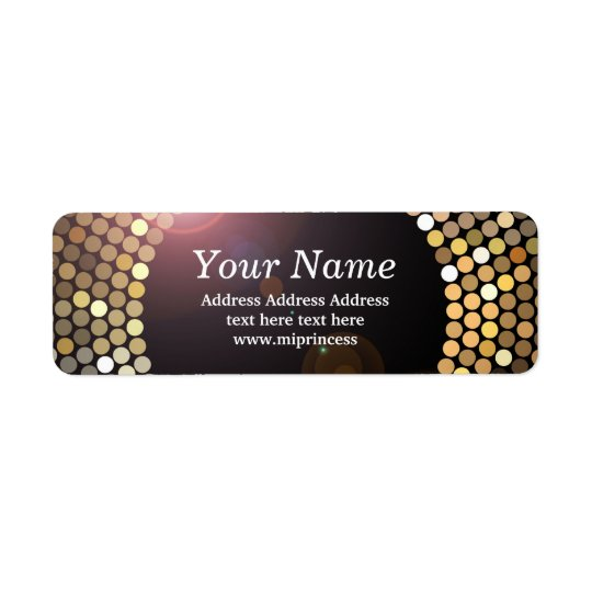 gold glitter disco return address stickers return address label
