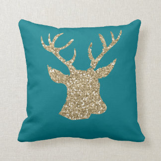 Gold Glitter Effect Deer/Stag Pillow in Turquoise