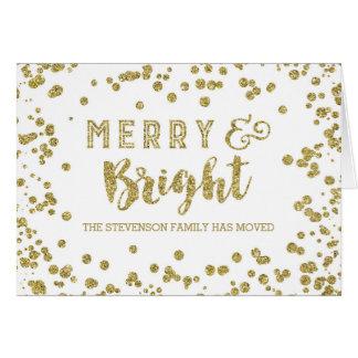 Gold Glitter Effect Merry Christmas New Address Card