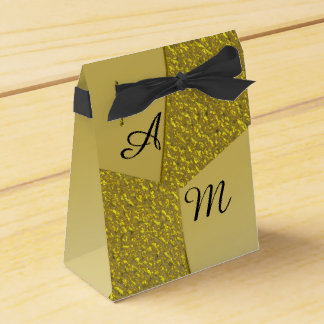 Gold Glitter Effect Personalized Wedding Favour Boxes