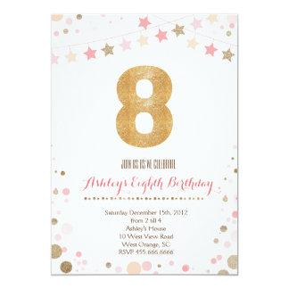 Gold Glitter Eighth Birthday Invitation