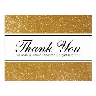 Gold glitter elegant wedding thank you postcards