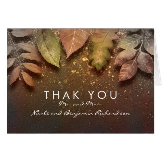 Gold Glitter Fall Leaves Vintage Wedding Thank You Card