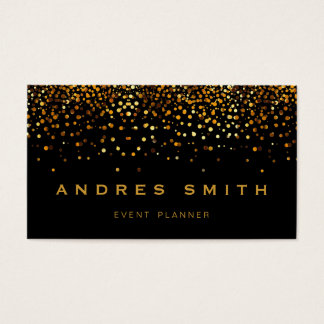 Gold Glitter Faux Foil Confetti Black Business Card