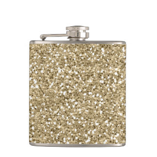 Gold Glitter Faux Foil Confetti Hip Flask