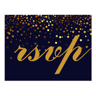 Gold Glitter Faux Foil Glamour Wedding RSVP Postcard