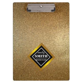 Gold Glitter Faux Foil Personalized Clipboard