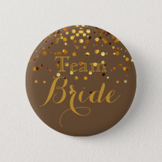 Gold Glitter Faux Foil Wedding Team Bride 6 Cm Round Badge