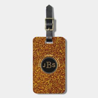 Gold Glitter Faux Shiny Monogram Travel Luxury Luggage Tag