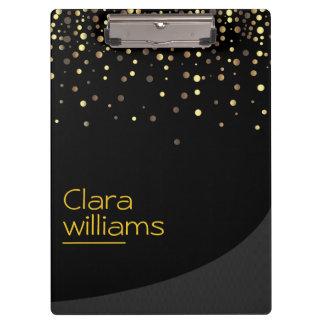 Gold Glitter Faux Sparkle Confetti Modern Elegant Clipboard