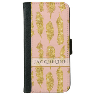 Gold Glitter Faux Watercolor Blush Boho Feathers iPhone 6 Wallet Case
