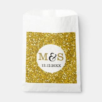 Gold Glitter Favor Wedding Monogram Favour Bags