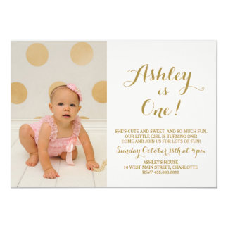 Gold Glitter First  Birthday Invitation