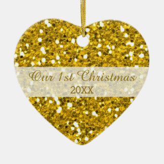 Gold Glitter First Christmas Couple Photo Ceramic Heart Decoration