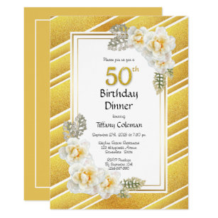 Gold Glitter Floral 50th Birthday Dinner Party Invitation