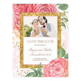 Gold Glitter Floral Blush Photo Save the Date Postcard
