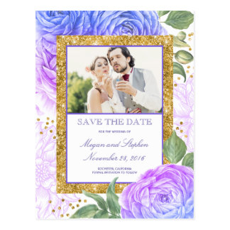 Gold Glitter Floral Photo Save the Date Postcard