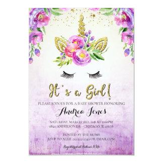 Gold Glitter Floral Unicorn Baby Shower Invitation