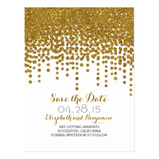 gold glitter foil confetti save the date postcards