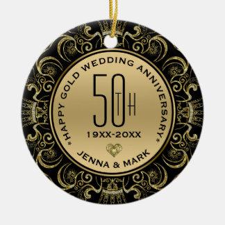 Gold Glitter Frame 50th Wedding Anniversary Ceramic Ornament