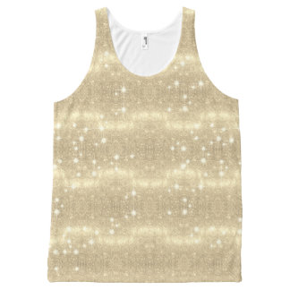 Gold Glitter Galaxy Faux Space Sparkle All-Over Print Singlet