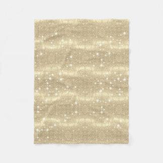 Gold Glitter Galaxy Faux Space Sparkle Fleece Blanket