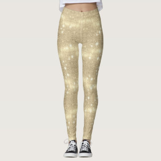 Gold Glitter Galaxy Faux Space Sparkle Leggings