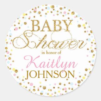 Gold Glitter Gender Neutral Baby Shower Label